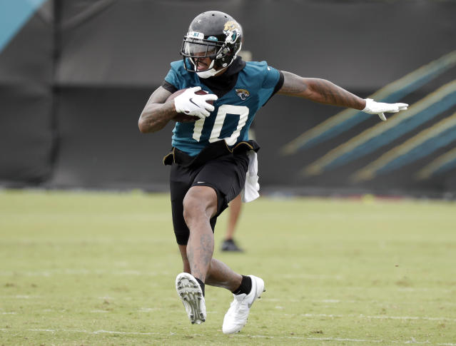 FILE - In this July 26, 2019, file photo, Jacksonville Jaguars wide receiver Terrelle Pryor Jr. (10) runs after a reception during NFL football practice at the team's training facility in Jacksonville, Fla. Allegheny County, Pa., District Attorney spokesman Mike Manko confirmed Saturday, Nov. 30, 2019, that Pryor, a free agent, was the victim of a stabbing, but said he had no other information, such as Pryors condition or where and when the stabbing occurred. (AP Photo/John Raoux, File)