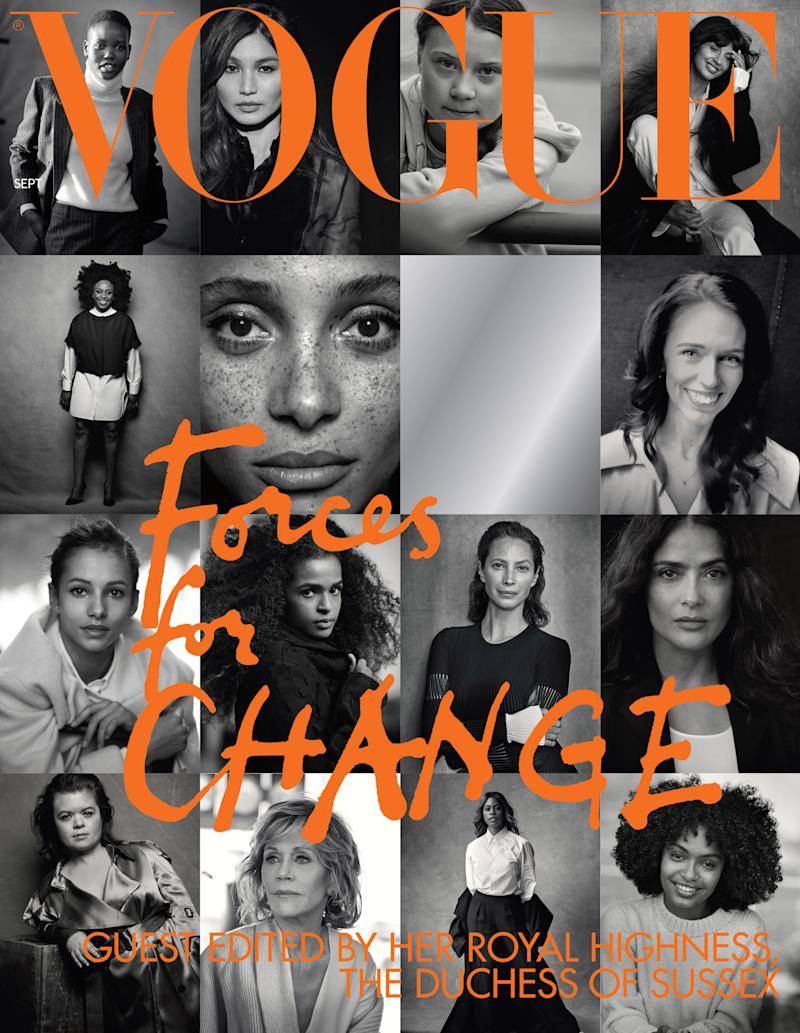 "UNSPECIFIED -UNDATED: (NEWS EDITORIAL USE ONLY. NO SALES, NO COMMERICAL USE. NO MERCHANDISING, ADVERTISING, SOUVENIRS, MEMORABILIA or COLOURABLY SIMILAR. NO CROPPING.) Undated handout photo issued by Kensington Palace of The cover of British Vogue's September issue, entitled ""Forces for Change"", which is guest edited by HRH The Duchess of Sussex, Issue date: Sunday July 28, 2019. (Photo by Peter Lindbergh/Kensington Palace via Getty Images)Copyright in the photograph is Peter Lindbergh. Publications are asked to credit the photographs to: Peter LindberghNo charge should be made for the supply, release or publication of the photograph. The photograph must not be digitally enhanced, manipulated or modified in any manner or form and must include all of the individuals in the photograph when published. NOTE TO EDITORS: This handout photo may only be used in for editorial reporting purposes for the contemporaneous illustration of events, things or the people in the image or facts mentioned in the caption. Reuse of the picture may require further permission from the copyright holder."
