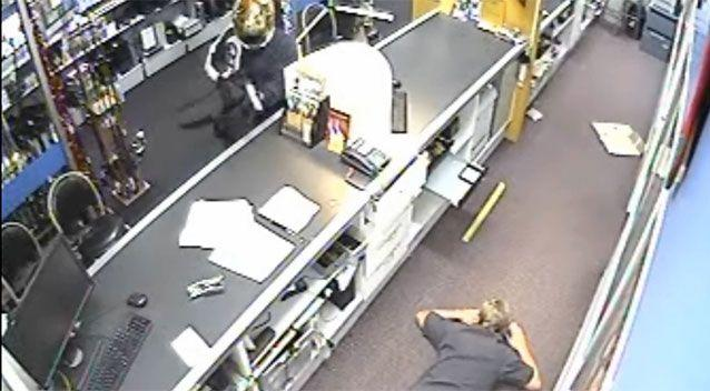The store clerk dropped to the floor in terror. Source: Supplied.