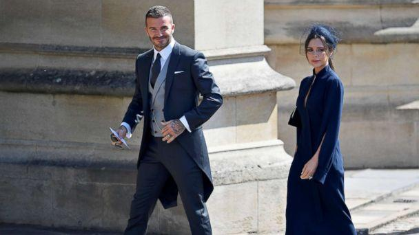 PHOTO: David and Victoria Beckham arrive to the wedding of Britain's Prince Harry to Meghan Markle in Windsor, May 19, 2018. (Toby Melville/Reuters)
