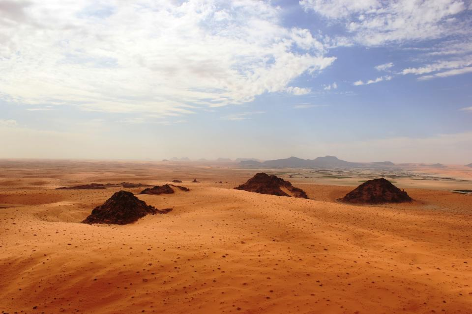 This undated photo provided by the Palaeodeserts Project in September 2021 shows the Jubbah Oasis in northern Saudi Arabia, where humans were repeatedly present during periods of increased rainfall over hundreds of thousands of years. (Ceri Shipton/Palaeodeserts Project via AP)