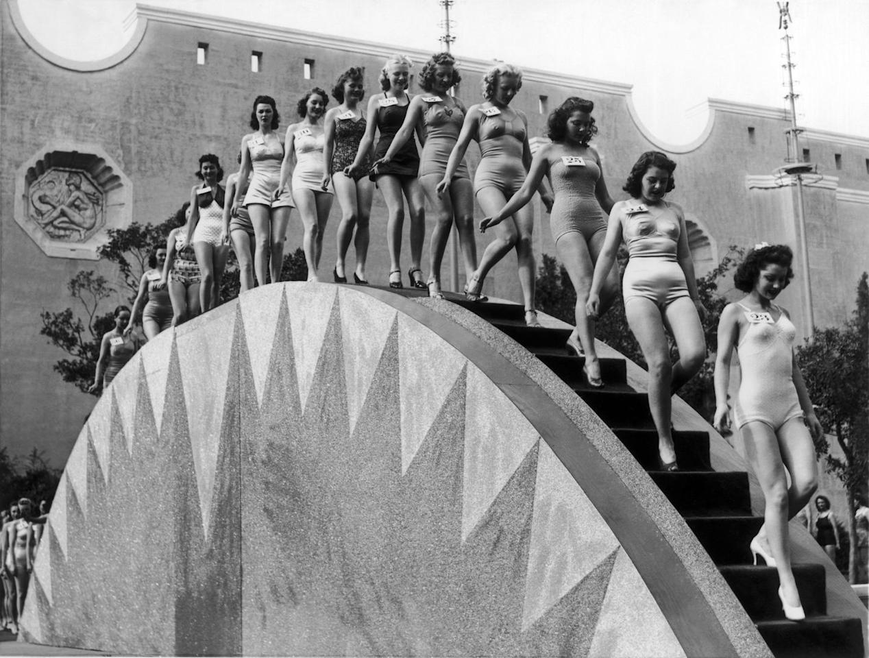 <p>Contestants line up for a beauty pageant at the Treasure Island Casino in Las Vegas. </p>