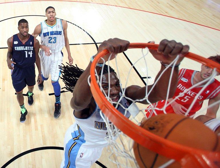 Kenneth Faried of the Denver Nuggets and Team Chuck dunks the ball in the first half in the BBVA Rising Stars Challenge 2013, part of the 2013 NBA All-Star Weekend, at the Toyota Center in Houston, Texas, on February 15, 2013. Faried had 40 points as Team Chuck routed Team Shaq 163-135