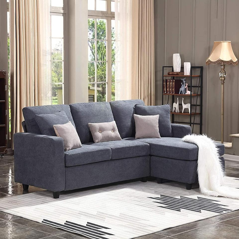 <p>Customers always buy this popular <span>HONBAY Convertible Sectional Sofa Couch</span> ($300).</p>