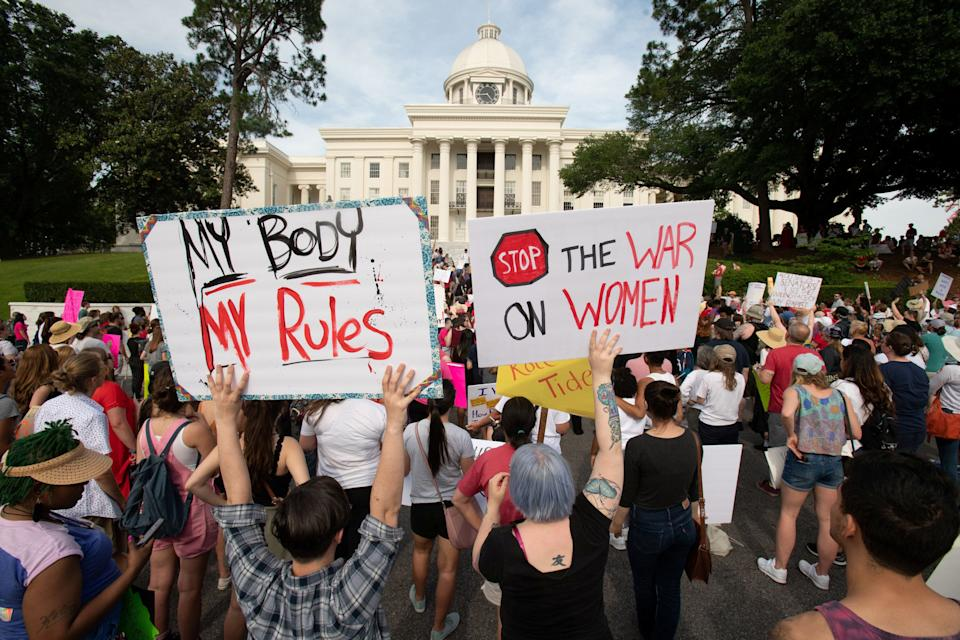 People gather at the Alabama State Capitol during the March for Reproductive Freedom against the state's new abortion law, the Alabama Human Life Protection Act, in Montgomery on May 19, 2019. (Photo: Michael Spooneybarger / Reuters)
