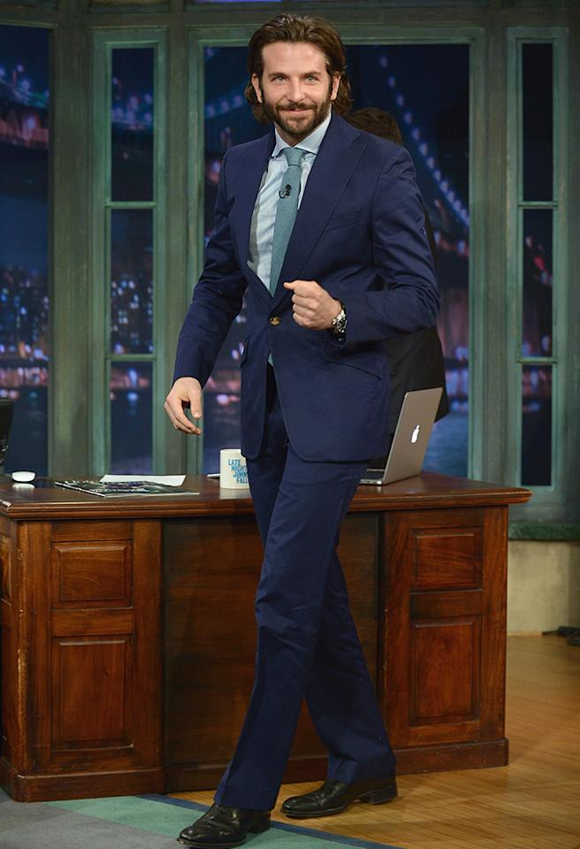 "NEW YORK, NY - MAY 13:  Bradley Cooper visits ""Late Night With Jimmy Fallon"" at Rockefeller Center on May 13, 2013 in New York City.  (Photo by Theo Wargo/Getty Images)"