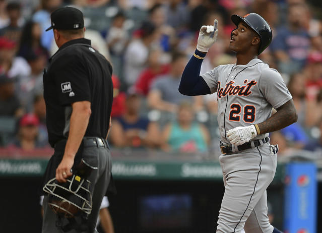 Detroit Tigers' Niko Goodrum celebrates after hitting a home run off Cleveland Indians starting pitcher Trevor Bauer in the first inning of a baseball game, Thursday, July 18, 2019, in Cleveland. (AP Photo/David Dermer)