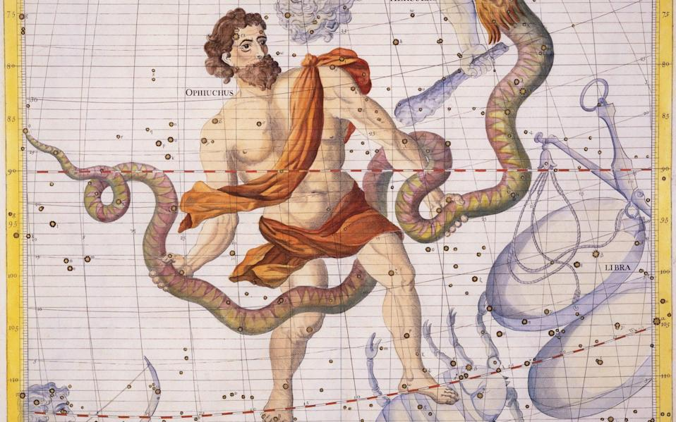 The constellation, which comes from Greek words meaning 'serpent bearing', is commonly represented by a man wrestling a snake