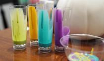 <p>Pick your colors, and in separate cups, mix one part paint with three parts pouring medium. This will make the paint consistency much more liquid-y, which is exactly what you want, since you'll be pouring, as opposed to brushing, the paints. Then pour all the colors into one larger cup, but leave them unstirred.</p>