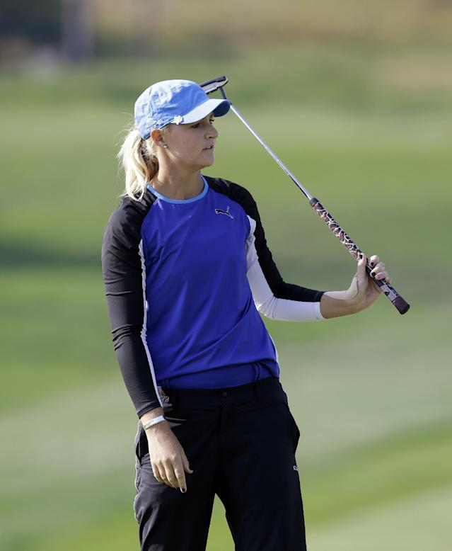 Anna Nordqvist of Sweden watches her putt on the ninth hole during the first round of the LPGA KEB Hana Bank Championship golf tournament at Sky72 Golf Club in Incheon, west of Seoul, South Korea, Friday, Oct. 18, 2013. Anna Nordqvist finished her first round in the lead with Katherine Hull-Kirk of Australia, Park Ju-young and Amy Yang of South Korea with a five-under par 67. (AP Photo/Lee Jin-man)