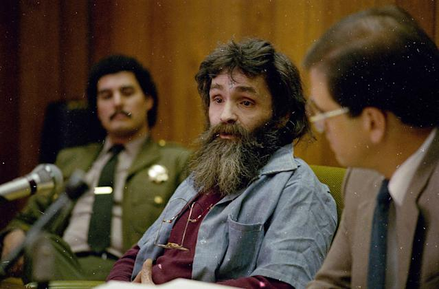<p>Convicted killer Charles Manson appears at a parole hearing in 1986. In February, 2008, a team of forensic researchers visited the Death Valley ranch where Manson hid after a killing spree in the summer of 1969 and found at least two sites that could be clandestine graves holding the bodies of additional victims. Forensic tests of the soil were not conclusive, and Inyo County Sheriff Bill Lutze said he would allow a limited four-day excavation at the ranch beginning May 20, 2008. (Photo: AP) </p>