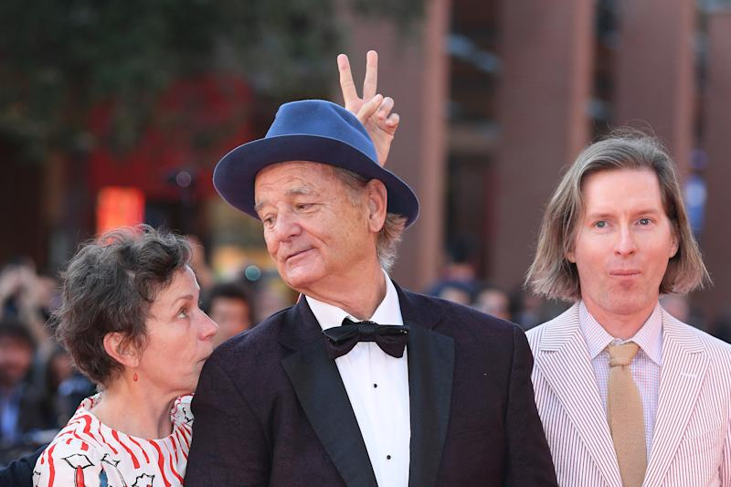 ROME, ITALY - OCTOBER 19: Bill Murray, Frances McDormand and Wes Anderson walk a red carpet during the 14th Rome Film Festival on October 19, 2019 in Rome, Italy. (Photo by Daniele Venturelli/WireImage,)