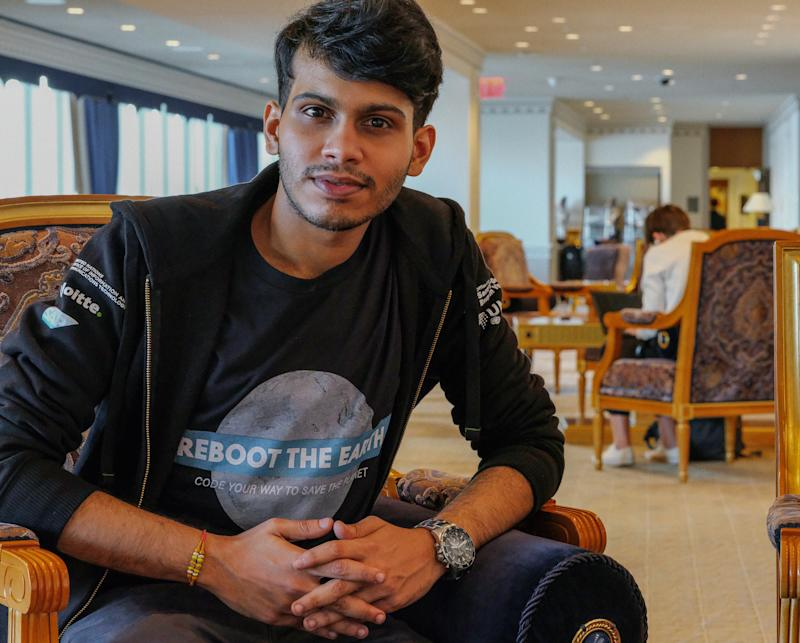 Eshaan Menon, Winner of the Reboot the Earth Hackathon in Malaysia, Youth Climate Summit, the United Nations, New York City, September 21, 2019.