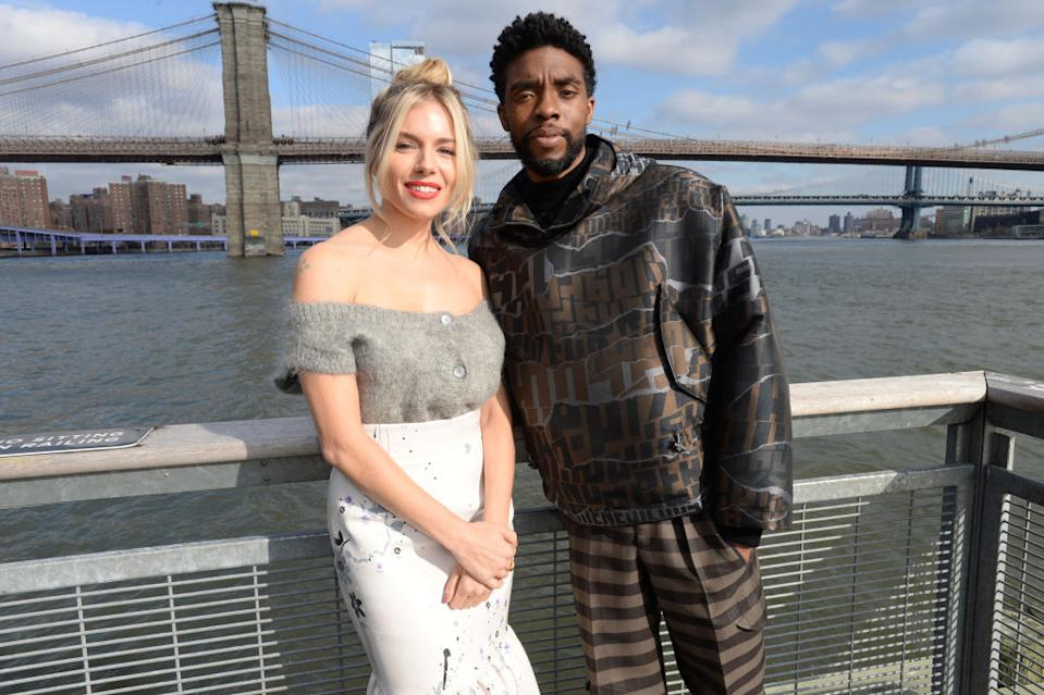 "Sienna Miller and Chadwick Boseman co-starred in 2019's ""21 Bridges."" (Photo: Brad Barket/Getty Images for STXfilms)"