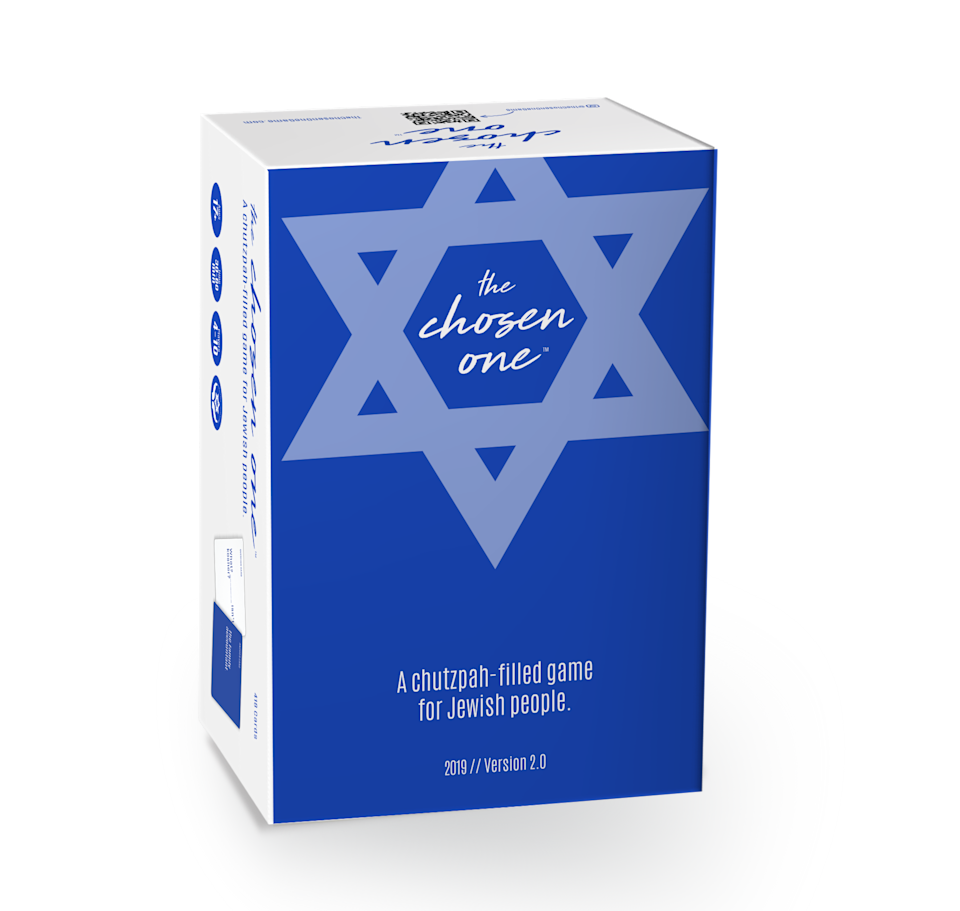 """<p><strong>The Chosen One</strong></p><p>walmart.com</p><p><strong>$17.90</strong></p><p><a href=""""https://go.redirectingat.com?id=74968X1596630&url=https%3A%2F%2Fwww.walmart.com%2Fip%2F180541424&sref=https%3A%2F%2Fwww.cosmopolitan.com%2Flifestyle%2Fg33852512%2Fhanukkah-games-for-adults%2F"""" rel=""""nofollow noopener"""" target=""""_blank"""" data-ylk=""""slk:Shop Now"""" class=""""link rapid-noclick-resp"""">Shop Now</a></p><p>If you don't mind a lil potty-mouth humor, add this card game to your game night shelf. It'll keep everyone laughing, and you'll be able to get everyone to put their phones away.</p>"""