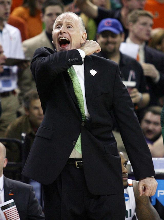 Miami coach Jim Larranago yells during the third round of the NCAA Tournament against Illinois at the Frank Erwin Center in Austin, Texas on Sunday, March 24, 2013. Miami won the game 63-59. (Stephen M. Dowell/Orlando Sentinel/MCT)