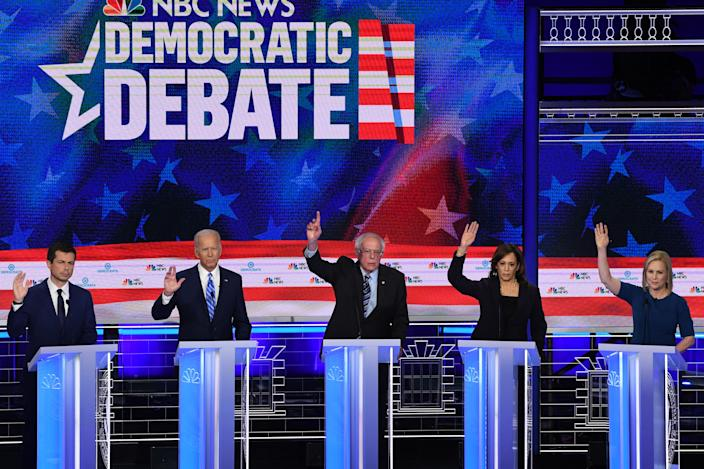 from left, Pete Buttigieg, Joe Biden, Bernie Sanders, Kamala Harris and Kirsten Gillibrand