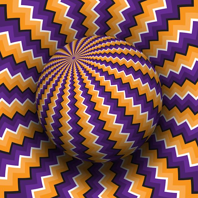 Purple orange zig-zag patterned sphere. Does the image appear dynamic to you?