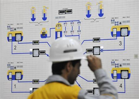 An Iranian operator monitors the nuclear power plant unit in Bushehr