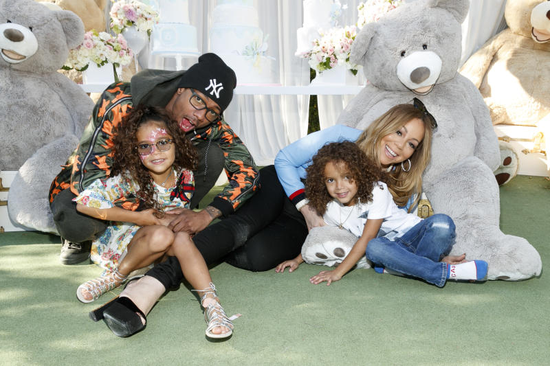 LOS ANGELES, CA - MAY 13: (L-R) Monroe Cannon, Nick Cannon, Moroccan Scott Canon and Mariah Carey attend the Moroccan Scott Cannon and Monroe Cannon Party on Mary 13 in Los Angeles, California. (Photo by Rich Polk/FilmMagic)