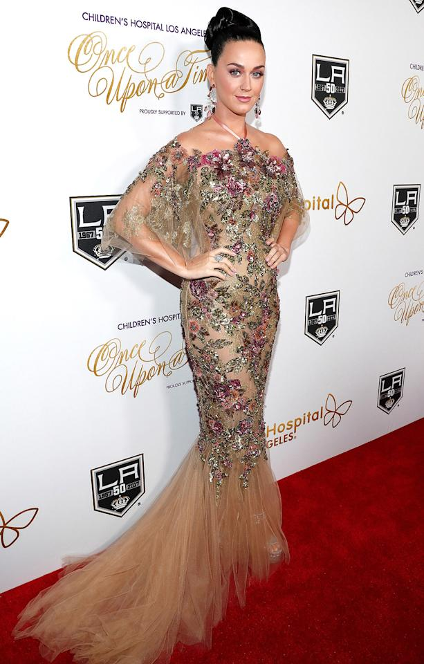 """<p>Katy wore an off-the-shoulder gown dripping in embellishment to the Children's Hospital Los Angeles """"Once Upon a Time"""" Gala in 2016. </p>"""