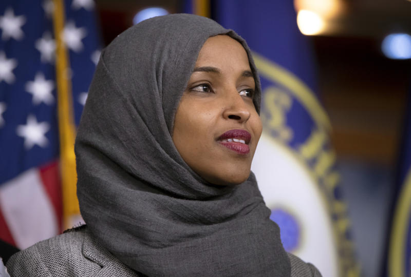 "FILE - This Nov. 30, 2018 file photo shows Rep. Ilhan Omar, D-Minn., at a news conference at the Capitol in Washington. Omar thanked Fox News on Monday, March 11, 2019, for condemning comments made on the network by weekend host Jeanine Pirro centering on the freshman Democrat's wearing of a traditional Muslim head covering. Pirro questioned whether Omar's wearing a hijab indicated her adherence to Sharia law. She said that's antithetical to the United States constitution. Fox issued a statement saying it ""strongly condemned"" Pirro's remarks on her Saturday night show. (AP Photo/J. Scott Applewhite, File)"