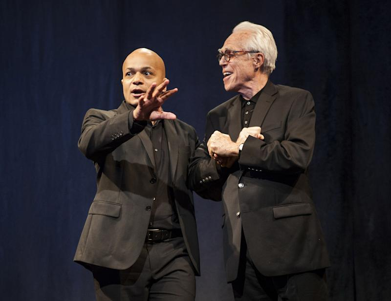 "This theater publicity image released by Boneau/Bryan-Brown shows Omar Sangare, left, and John Guare in ""3 Kinds of Exile,"" by John Guare, currently performing off-Broadway at the  Atlantic Theater Company in New York.  (AP Photo/Boneau/Bryan-Brown, Kevin Thomas Garcia)"