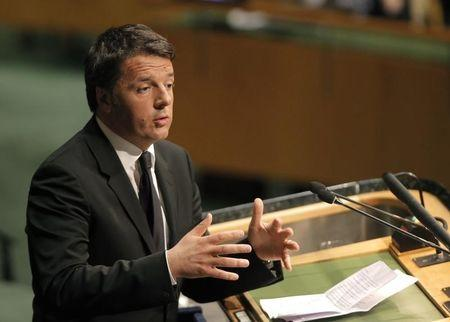 Italian Prime Minister Matteo Renzi delivers his remarks during the signing ceremony on climate change held at the United Nations Headquarters in New York