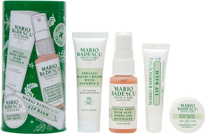 """<h2>Mario Badescu Dewy Skin Delights<br></h2><br>Pick up this Mario Badescu set for the skin-care snob in your life. We promise they'll spritz their face with this rose water every chance they get.<br><br><strong>Mario Badescu</strong> Mario Badescu Dewy Skin Delights, $, available at <a href=""""https://go.skimresources.com/?id=30283X879131&url=https%3A%2F%2Fwww.ulta.com%2Fdewy-skin-delights%3FproductId%3Dpimprod2019634"""" rel=""""nofollow noopener"""" target=""""_blank"""" data-ylk=""""slk:Ulta Beauty"""" class=""""link rapid-noclick-resp"""">Ulta Beauty</a>"""
