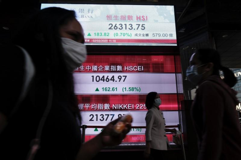 FILE PHOTO: People wear protective masks as they walk past a panel displaying the Hang Seng Index during morning trading following the outbreak of the new coronavirus in Hong Kong