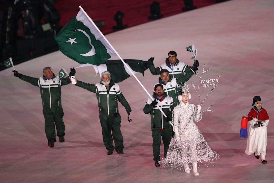 The Pakistan delegation marches during the Opening Ceremony on Friday in PyeongChang, South Korea.