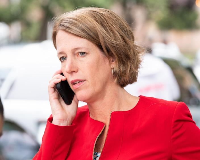 NEW YORK, NY, UNITED STATES - 2018/09/13: Zephyr Teachout seen speaking on phone during her campaign for Attorney General. (Photo by Michael Brochstein/SOPA Images/LightRocket via Getty Images)