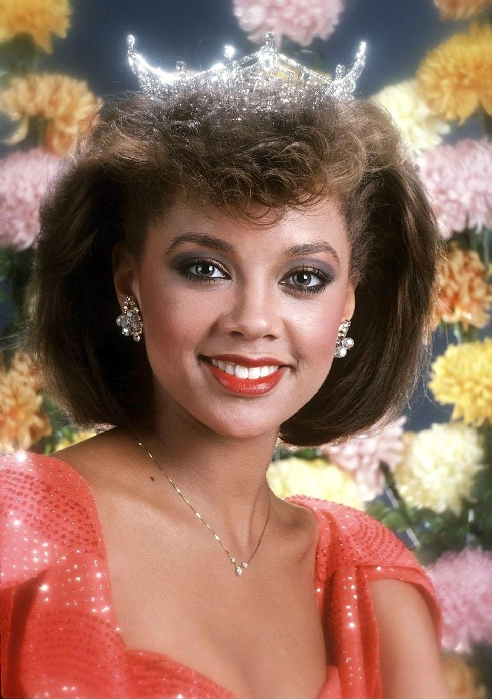 <p>Vanessa Williams was crowned Miss Syracuse and Miss New York in 1983, then took the title of Miss America 1984, making her the first Black Miss America.</p>