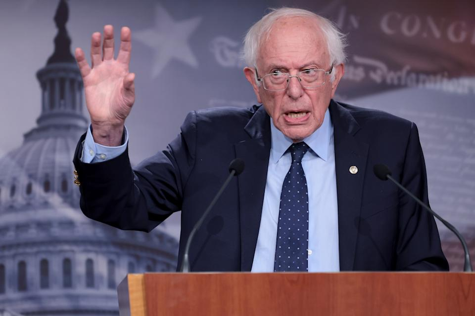 Sen. Bernie Sanders answers questions during a press conference at the U.S. Capitol on October 06, 2021 in Washington, DC..