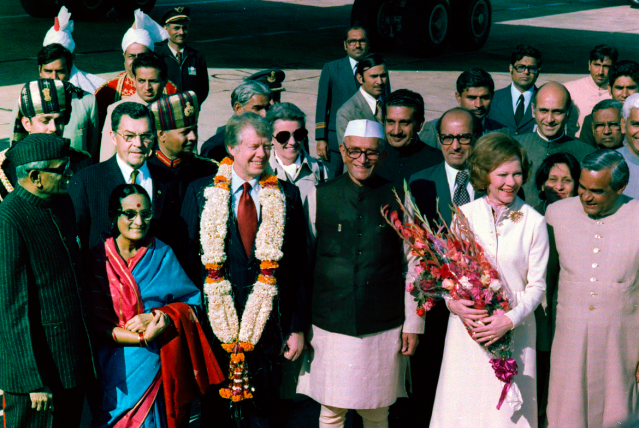 <p>Atal Bihari Vajpayee (extreme right) with the then US president Jimmy Carter and then Indian prime minister Morarji Desai. </p>