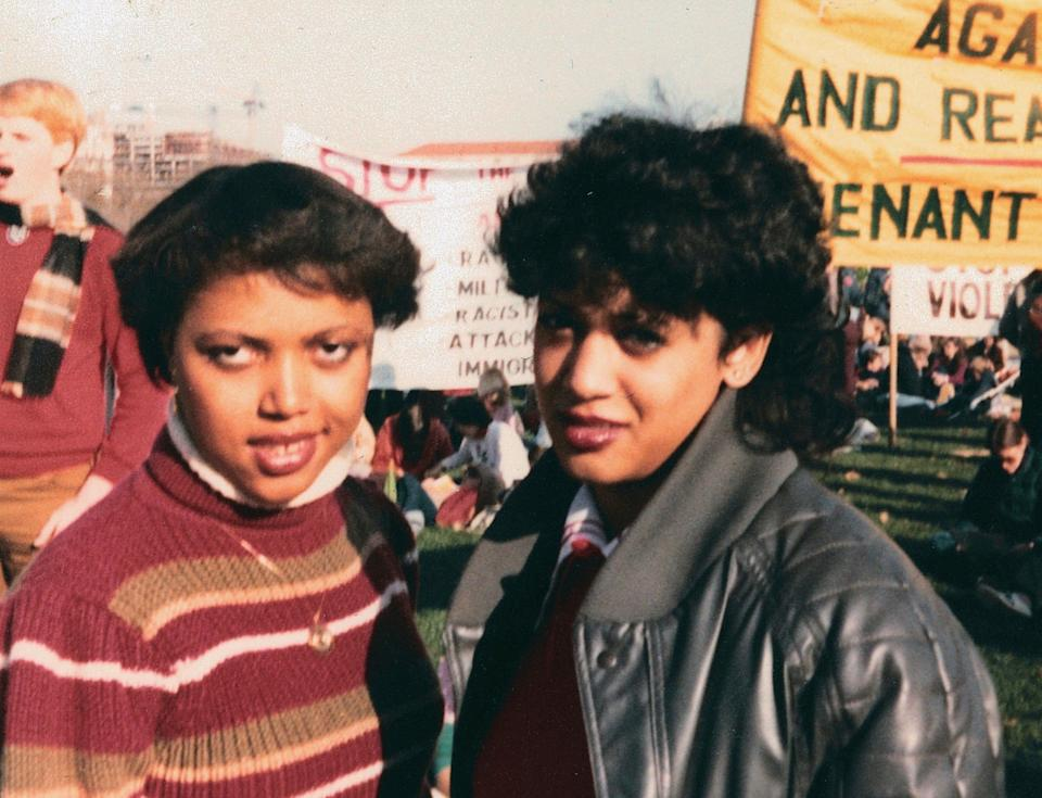 Kamala Harris (right) as a student at Howard UniversityAP