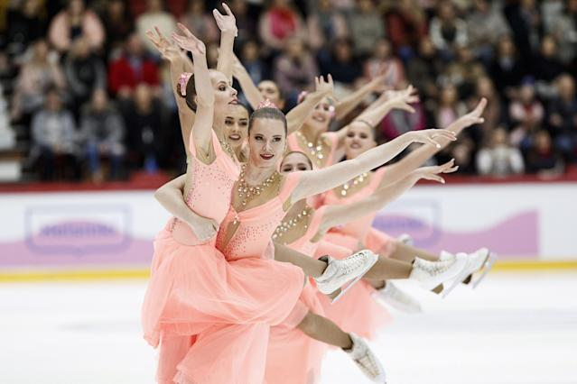 ISU World Synchronized Skating Championships 2019 - Free Skating - Helsinki, Finland - April 13, 2019. Team Paradise from Russia performs. Lehtikuva/Roni Rekomaa via REUTERS ATTENTION EDITORS - THIS IMAGE WAS PROVIDED BY A THIRD PARTY. NO THIRD PARTY SALES. NOT FOR USE BY REUTERS THIRD PARTY DISTRIBUTORS. FINLAND OUT. NO COMMERCIAL OR EDITORIAL SALES IN FINLAND. TPX IMAGES OF THE DAY