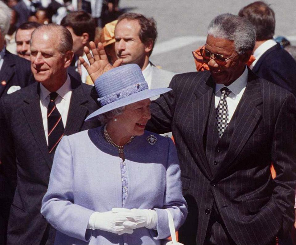 CAPE TOWN, SOUTH AFRICA - MARCH 20:  Queen, Prince Philip And Nelson Mandela In South Africa  (Photo by Tim Graham Photo Library via Getty Images)
