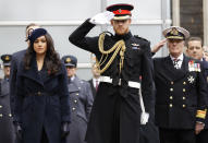 """FILE - In this Thursday, Nov. 7, 2019 file photo, Britain's Prince Harry and Meghan, the Duchess of Sussex attend the 91st Field of Remembrance at Westminster Abbey in London. In a stunning declaration, Britain's Prince Harry and his wife, Meghan, said they are planning """"to step back"""" as senior members of the royal family and """"work to become financially independent."""" A statement issued by the couple Wednesday, Jan. 8, 2020 also said they intend to """"balance"""" their time between the U.K. and North America. (AP Photo/Kirsty Wigglesworth, file)"""