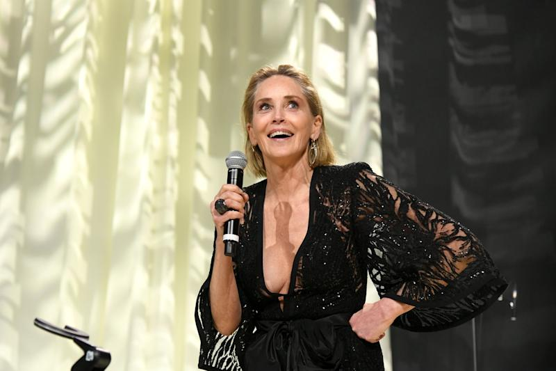 Sharon Stone speaks at the 28th Elton John Aids Foundation party in February 2020: Getty Images
