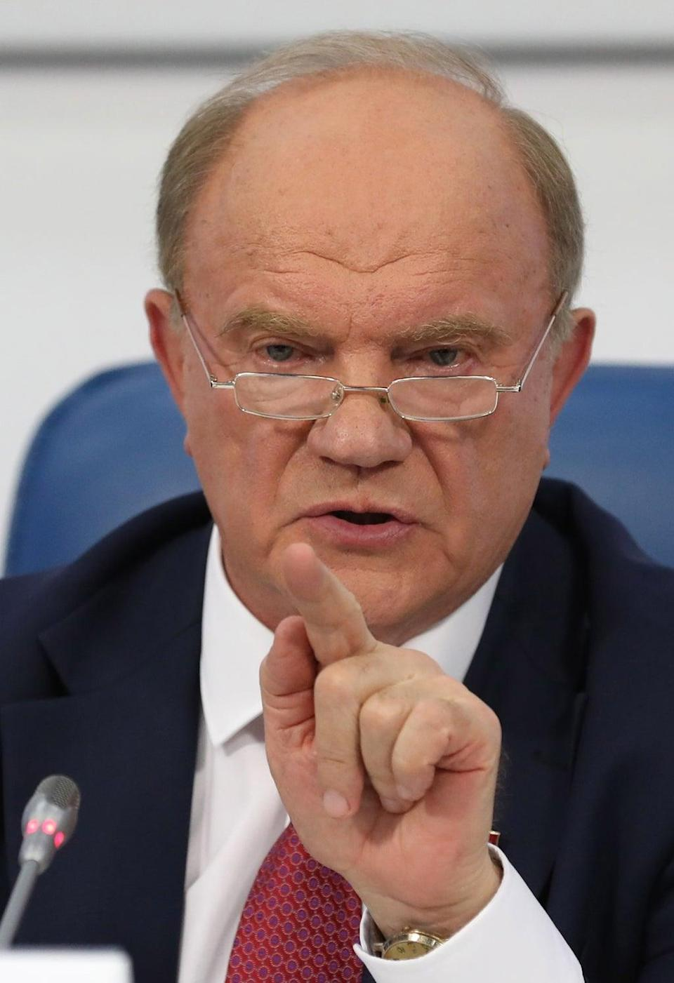 Communist party leader Gennady Zyuganov called for a protest in Moscow on Monday evening (EPA)