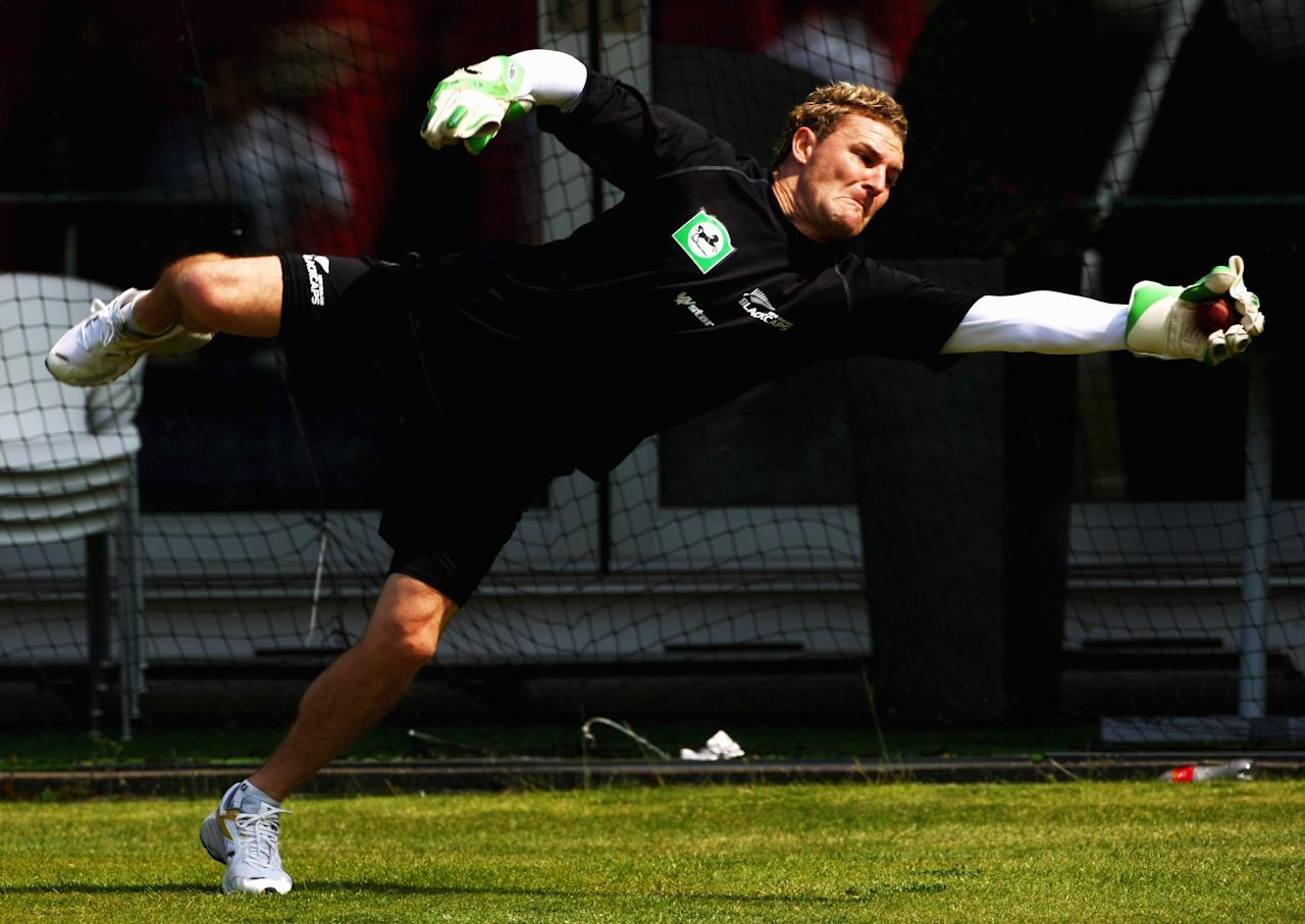 LONDON - MAY 13:  Brendon McCullum of New Zealand in action during a practice session prior to the first test match between England and New Zealand at Lords on May 13, 2007 in London, England.  (Photo by Clive Rose/Getty Images)
