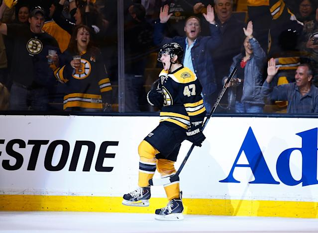 BOSTON, MA - MAY 01: Torey Krug #47 of the Boston Bruins celebrates his goal in the third period against the Montreal Canadiens in Game One of the Second Round of the 2014 NHL Stanley Cup Playoffs on May 1, 2014 in Boston, Massachusetts. (Photo by Jared Wickerham/Getty Images)