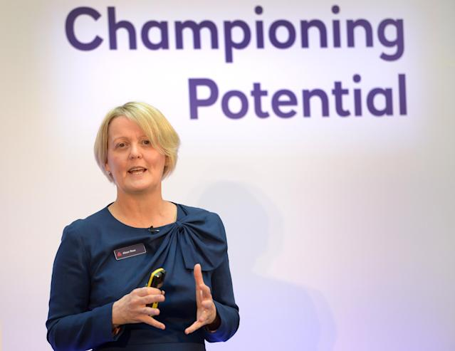 Royal Bank of Scotland CEO Alison Rose gives a speech to staff and stakeholders for the publication of the annual results at the bank's London headquarters. (Nick Ansell/PA Images via Getty Images)