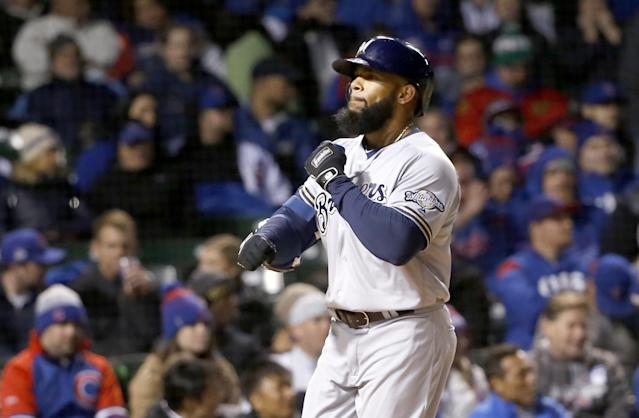 Eric Thames after homering off John Lackey on Monday night. (AP)