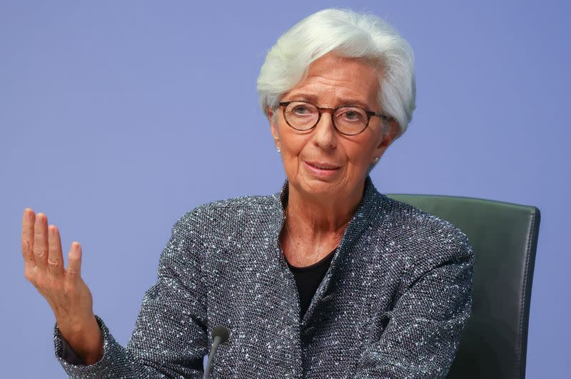 European Central Bank (ECB) President Christine Lagarde gestures as she addresses a news conference on the outcome of the meeting of the Governing Council, in Frankfurt