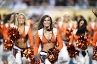 The Denver Bronco Cheerleaders perform during Super Bowl 50 against the Carolina Panthers at Levi's Stadium in Santa Clara, California, on February 7, 2016 (AFP Photo/Timothy A. Clary)