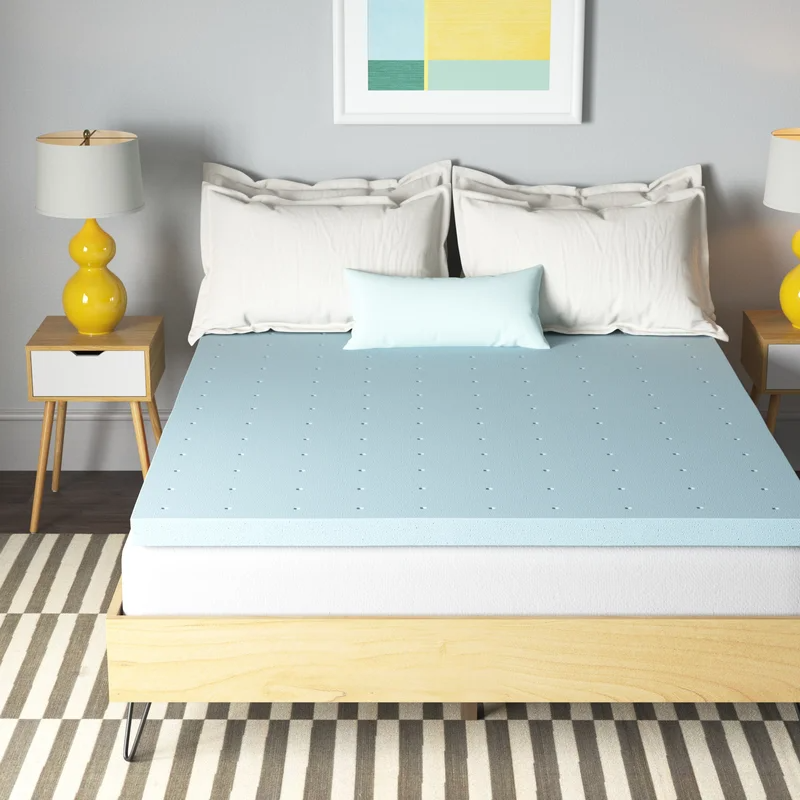 """<h3>Wayfair Sleep Gel Memory Foam Mattress Topper</h3><br><a href=""""https://www.refinery29.com/en-us/best-mattress-toppers-reviews"""" rel=""""nofollow noopener"""" target=""""_blank"""" data-ylk=""""slk:Can't afford a mattress"""" class=""""link rapid-noclick-resp"""">Can't afford a mattress</a>? Don't even sleep on it — because we've got your backs even more affordably supported with this cooling and top-rated mattress topper crafted out of CertiPUR-US-certified gel memory foam. It's water-resistant, hypoallergenic, <em>and</em> backed by a three-year warranty.<br><br><em>Shop </em><a href=""""https://www.wayfair.com/brand/bnd/wayfair-sleep-b39393.html"""" rel=""""nofollow noopener"""" target=""""_blank"""" data-ylk=""""slk:Wayfair Sleep"""" class=""""link rapid-noclick-resp""""><strong><em>Wayfair Sleep</em></strong></a><br><br><strong>Wayfair Sleep</strong> 2.5"""" Gel Memory Foam Mattress Topper, $, available at <a href=""""https://go.skimresources.com/?id=30283X879131&url=https%3A%2F%2Fwww.wayfair.com%2Fbed-bath%2Fpdp%2Fwayfair-sleep-25-gel-memory-foam-mattress-topper-w004536514.html"""" rel=""""nofollow noopener"""" target=""""_blank"""" data-ylk=""""slk:Wayfair"""" class=""""link rapid-noclick-resp"""">Wayfair</a>"""