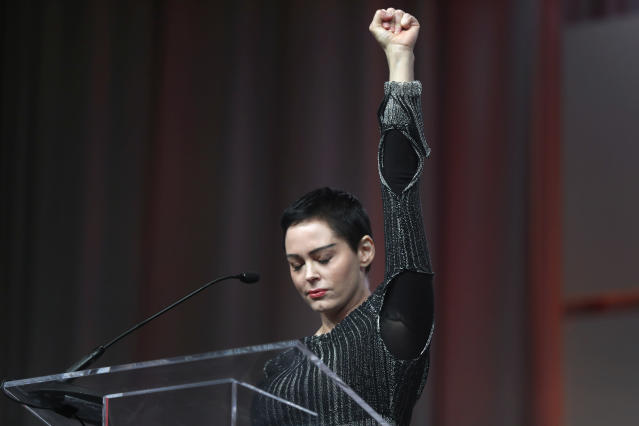 Actress Rose McGowan speaks at the inaugural Women's Convention in Detroit on Oct. 27, 2017. Shortly before, McGowan gone public with her allegation that film company co-founder and Hollywood movie mogul Harvey Weinstein raped her. (Photo: Paul Sancya/AP)