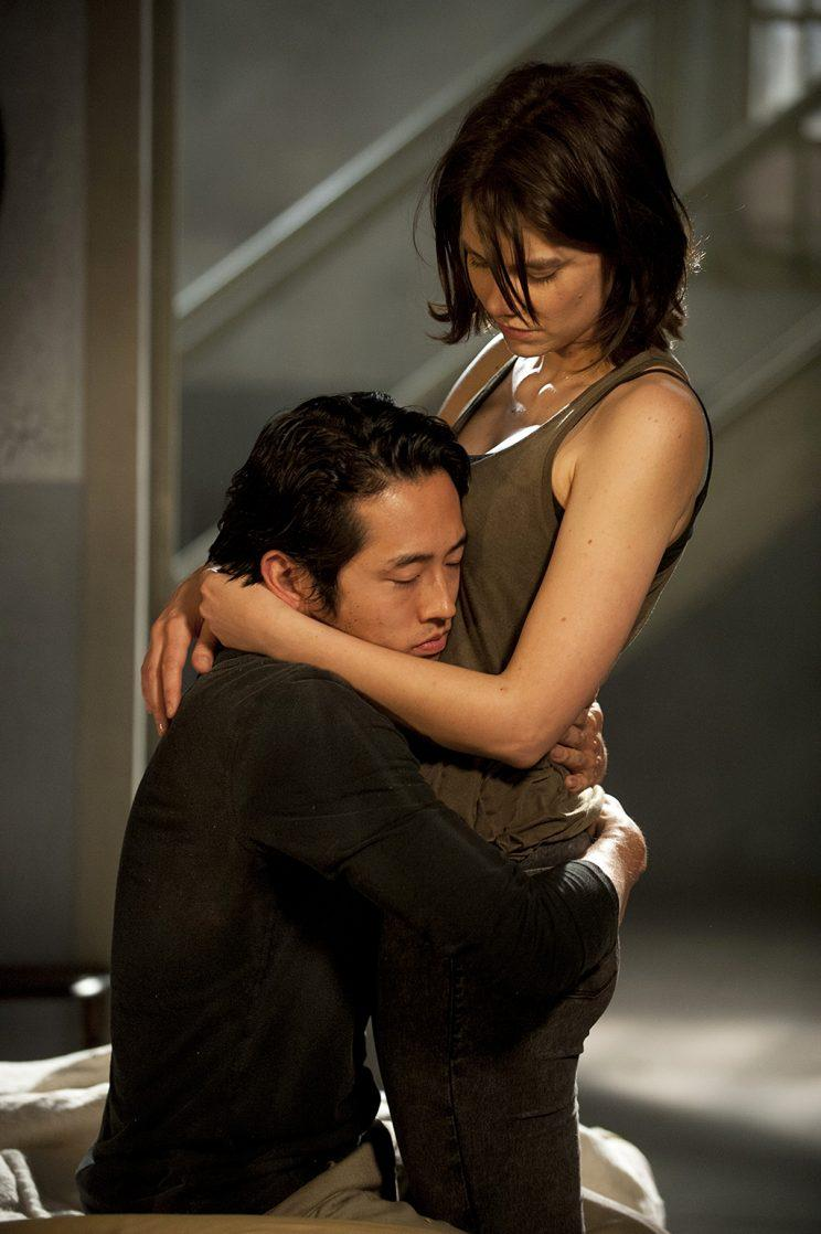 Steven Yeun as Glenn and Lauren Cohan as Maggie Greene in AMC's The Walking Dead . (Photo Credit: Gene Page/AMC)